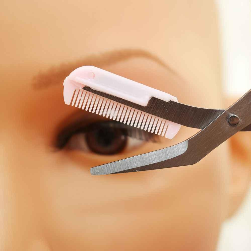 สีชมพู Eyebrow Trimmer กรรไกรหวี Lady ผู้หญิงผู้ชายกำจัดขน Grooming Shaping Shaver eye brow trimmer ขนตาคลิปผม