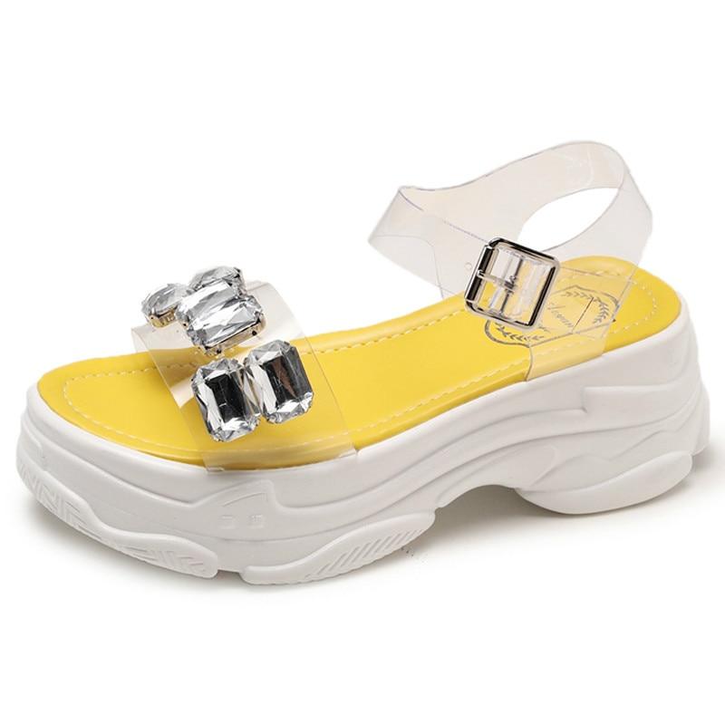 Platform Sandals Transparent Flat High-Quality Fashion Ladies PVC Mujer M864 Increase