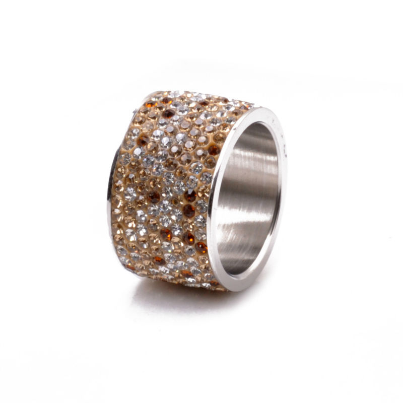 fashion stainless steel wedding rings women & men charms rhinestones Crystal jewelry 8 rows - CRYSTAL BEADS store