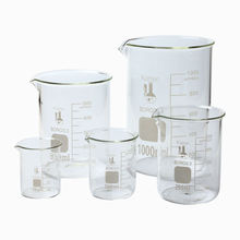 قدح زجاجي كبير 3.3 البورسليكات مختبر الأواني الزجاجية شكل منخفض 5 قطعة 50,100 ، 250 ، 500 ، & 1000 مللي واضح