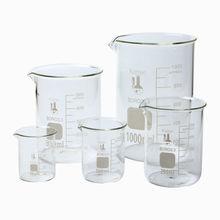 Copo de vidro 3.3 vidraria de laboratório de borosilicato baixo formulário 5 peça 50,100, 250, 500,& 1000ml claro