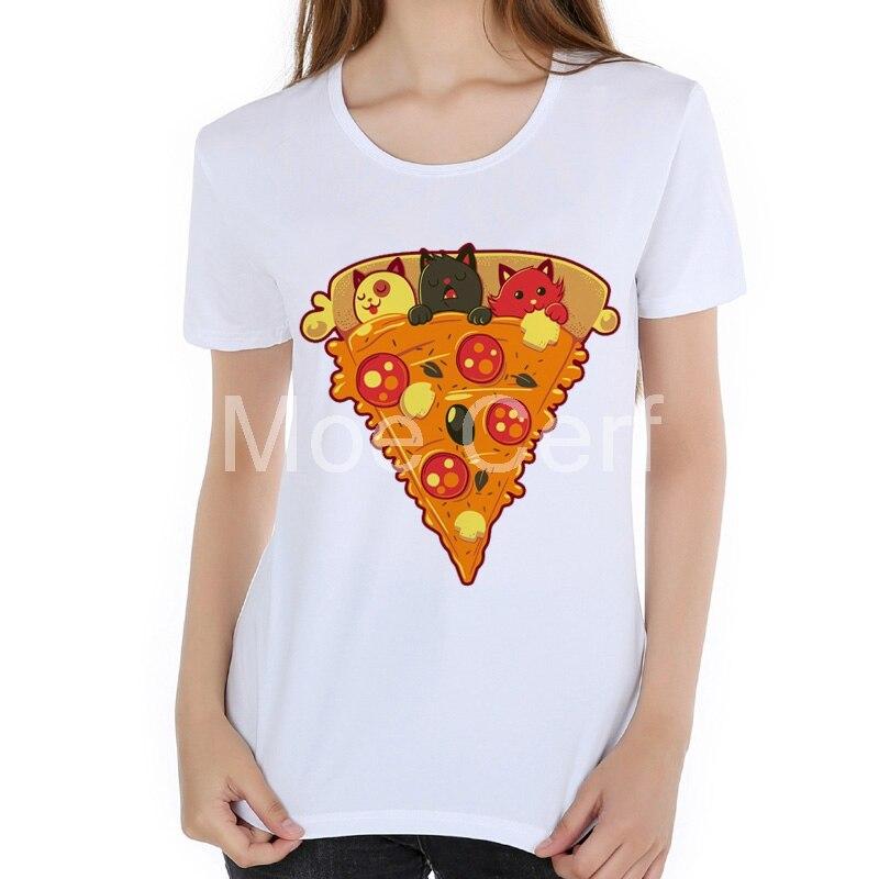 New fashion Pizza Cat print T-Shirt women lovely kitten cat eat pizza funny tops tee short sleeve summer shirts for women L17-18