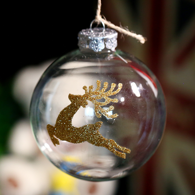 clear glass ball ornament christmas decoration gold deer party event supplier 80mm x 4pc