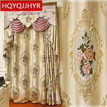 European top luxury villa embroidered curtains for living room elegant window high quality Voile Curtain for bedroom Kitchen