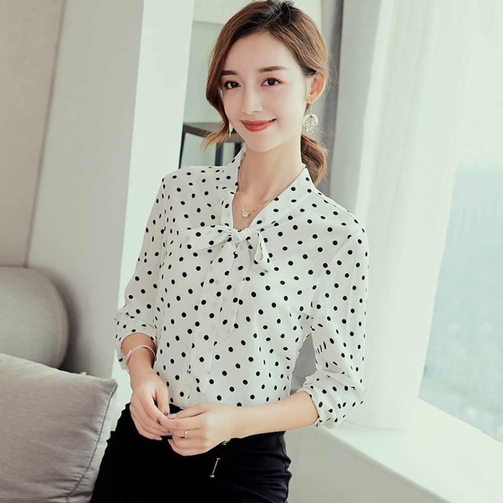 2019 Polka Dot Chiffon Blouse Shirts Women Bow Tie Long Sleeve Tops 2019 Summer Autumn Button Office Ladies Blusas Femininas