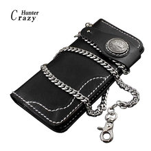 Mens Motorcycle Biker Leather Snap Close Wallet Purse With A Necklace Link Chain(China)