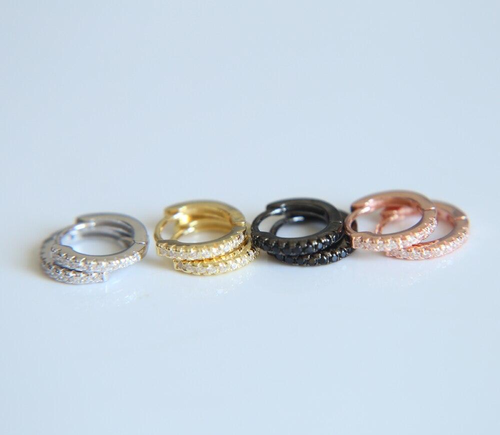 Joyería romántica 2017 venta al por mayor 10mm pequeña mini círculo 4 colores 100% de Plata de Ley 925 clip en círculo pendiente de plata