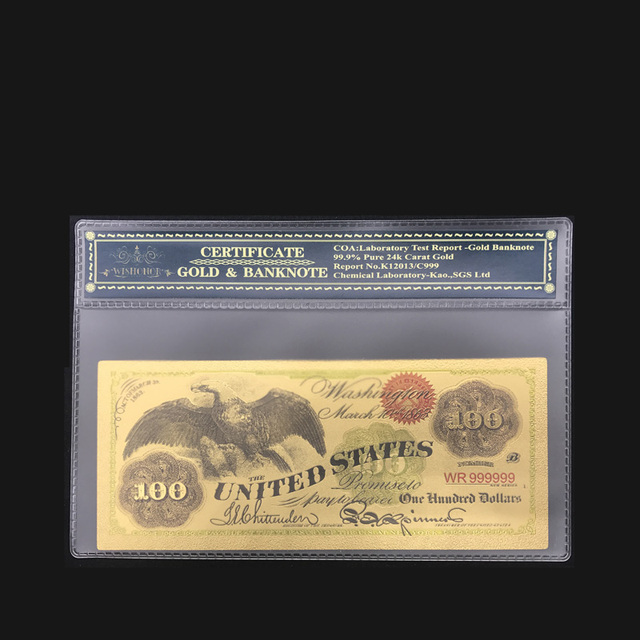 24k Gold Banknotes Usa 1863 S 100 Dollar Foil Bills Collections Currency Fake Money Home Decor Bank