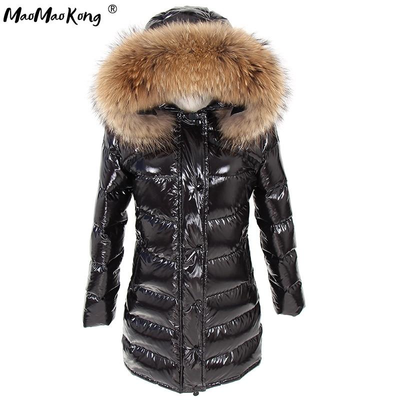 Women Winter Jacket ParkasMAO MAO KONG Long Down Lined Natural Raccoon Fur Collar Jacket Coat