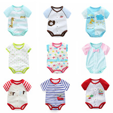Newborn Baby Triangle Suit Short-sleeved Bag Fart Jumpsuit Infant Boys Girls Summer Thin Clothing Cotton Bodysuit Outwear