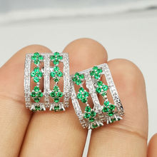 Danki Brand New Solid 925 Sterling Silver Earrings Women Trendy Created Emerald Stud Earrings Romantic Jewelry Gift for Lover