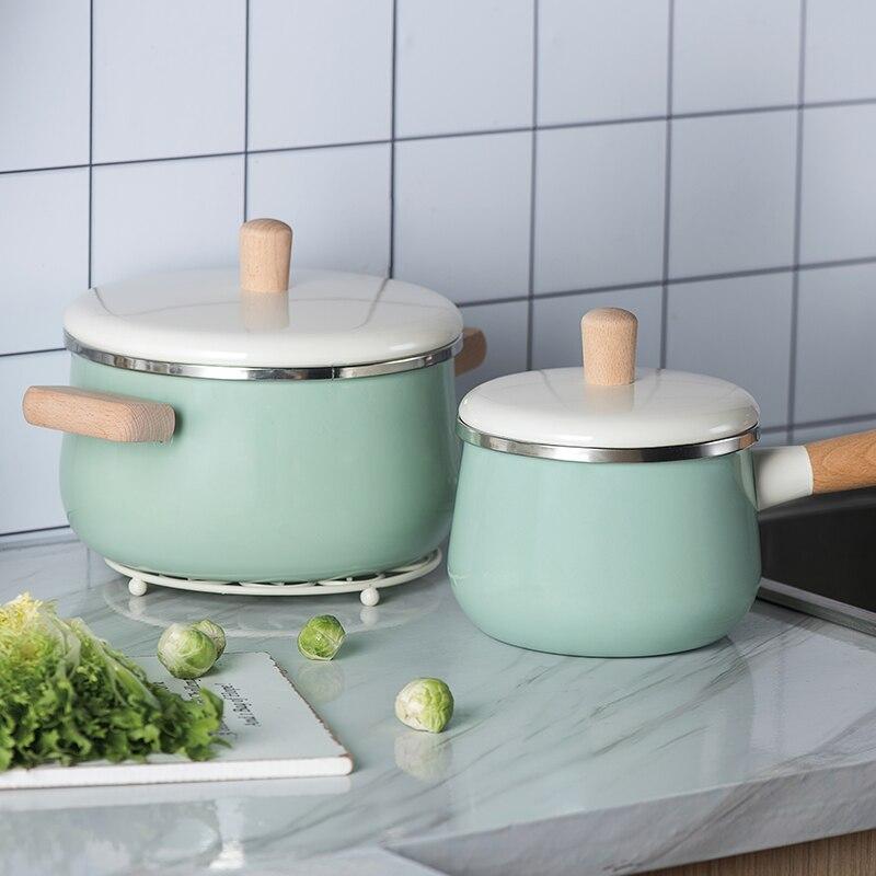 Europe du nord émail manche en bois pot de lait soupe casserole épaissie nouilles général maison induction cuisinière japonaise ragoût manuel casserole