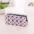 Fashion Geometric Zipper Cosmetic Bag Women Laser Pu Leather Makeup Bags Ladies Toiletries Storage Organizer Plaid Make Up Cases