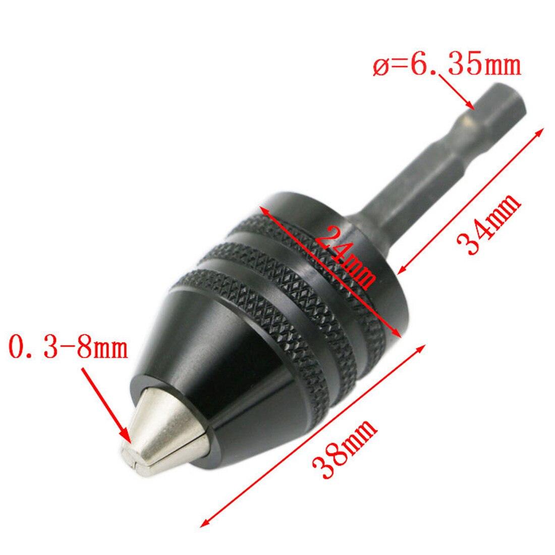1 pc 0.3-8mm Noir Sans Clé Mandrin Tournevis Impact Driver Adaptateur 1/4 6.35mm Hex Shank Forets Diamètre Outils Électriques