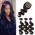 Malaysian Virgin Hair With Closure 3 Bundles With Closure Malaysian Body Wave Unprocessed Human Hair With Closure Ms Lua Hair