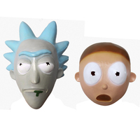 Takerlama Anime Rick and Morty Cosplay Mask Helmet Cute Full Face Head Latex Masks Masquerade Halloween Women/Men Party Props
