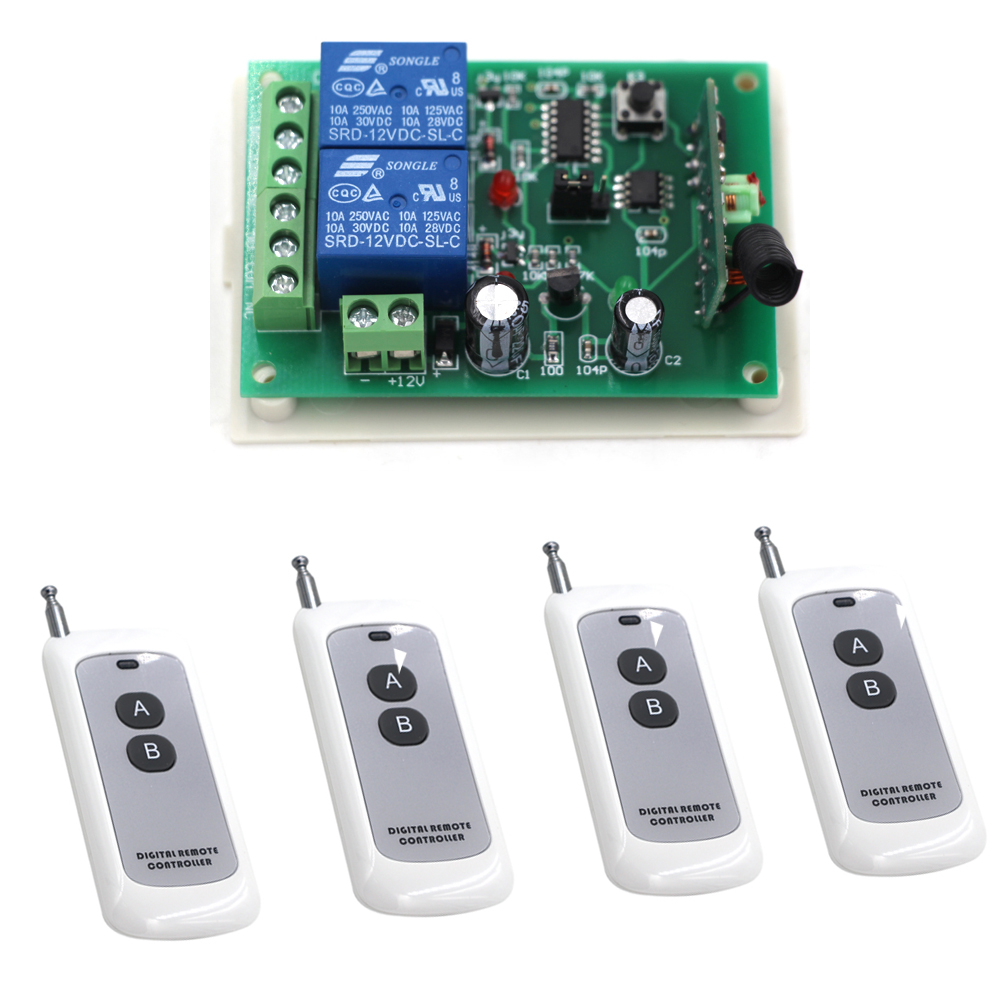 Newest 2CH Wireless Remote ControlSwitch System DC12V 24V 1pcs Receiver & 4 pcs 2-Button Transmitters Learning Code 315/433MHZ 2 receivers 60 buzzers wireless restaurant buzzer caller table call calling button waiter pager system