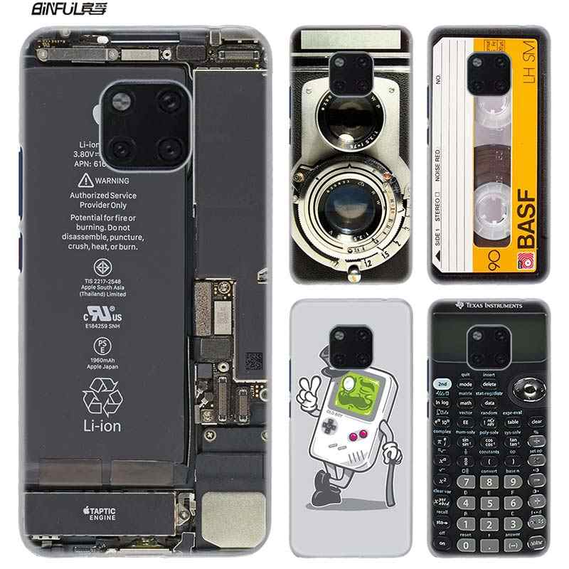 Thời trang Trường Hợp đối với Huawei Mate 20 10 lite Pro 20 lite 20Pro 10 lite 10Pro Cứng Nhựa Rõ Ràng Trường Hợp Bìa coque Gameboy Advance Video Băng