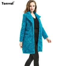 Tonval 2016 Winter Women Clothing Blue Faux Fur Coat Warm Jackets Plus Size Outwear 5XL 6XL Furs Overcoats