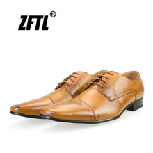 ZFTL New Men Dress shoes formal male business genuine leather man big size lace-up British style Heightening shoes83