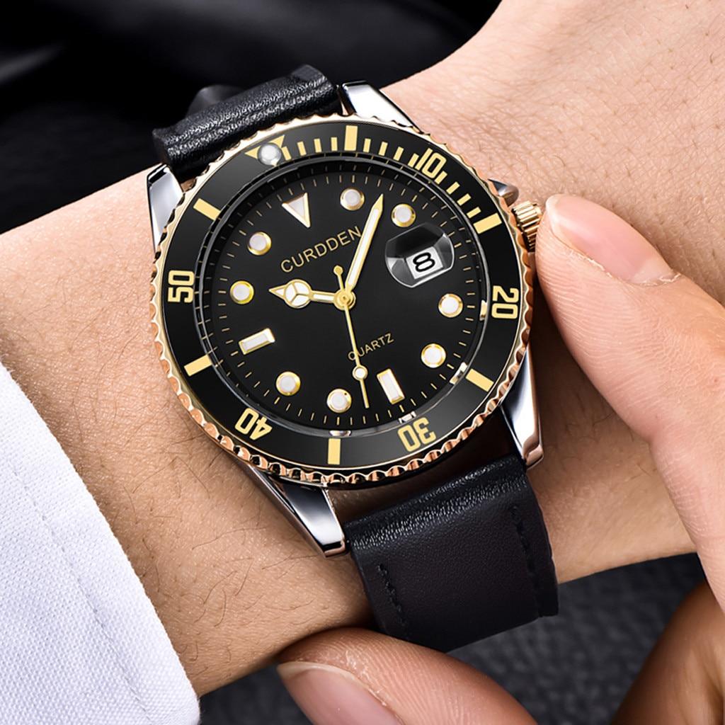 CURDDEN Mode Luxus Marke herren Uhr Leder Band Analog Quarz Runde Handgelenk herren Uhr Business Einfache Uhren zegarek