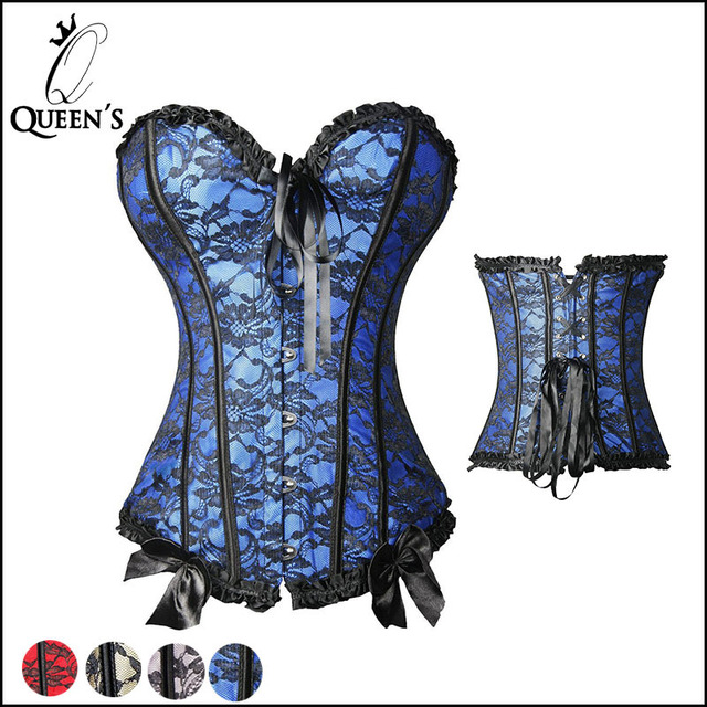 1d76c3e14f New Sexy Overbust Plus Size Lace Corset Top Women Elegant Corsets Bustier  Lace Up Corselet Apricot Blue Pink Red