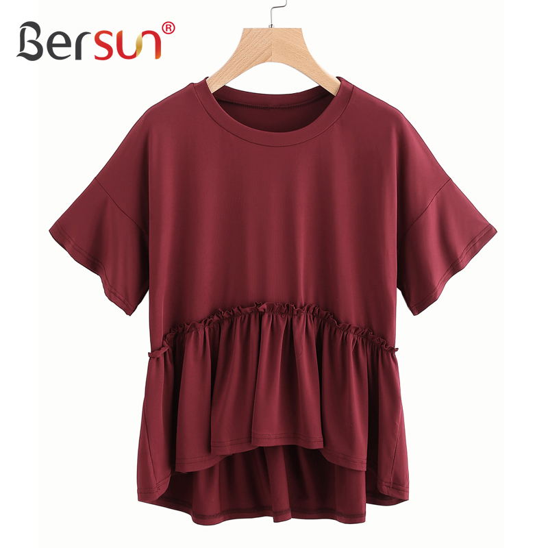 Image Result For Design Size On Front And Back Of Shirts: Bersun New Summer Fashion T Shirt Women Short Front Long