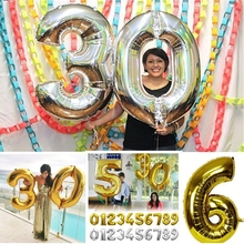 Cheap 32inch Number Float Air Balls Foil Digital Gold 123 0-9 Balloon For Wedding Party Decoration Baloon Kids Inflatable Toys