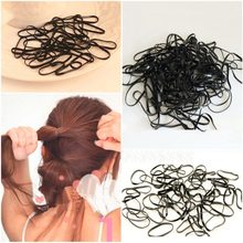 300pcs/lot Women Girls Black Rubber Hairband Rope Ponytail Holder Elastic Hair Band Ties Plaits Fashion Hair Styling Accessories(China)