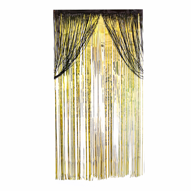 Beautiful 2pcs Metallic Foil Fringe Curtain Black Gold Rainbow Curtains Party Wedding Event