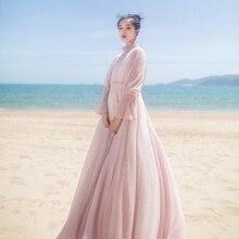 MM169 New Arrivals Summer 2017 women 9m large bottom turtleneck long sleeve maxi vintage beach chiffon dress pink