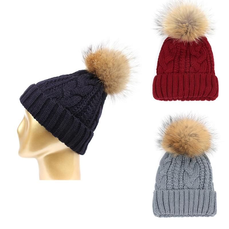 Winter Warm Hat Raccoon fur pattern font b wool b font hat thickening warm thread knitted