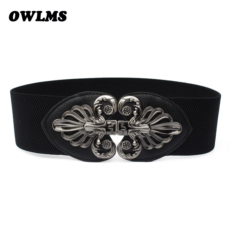 Newest Free Shipping New Popular Fashion Punk Cutout Gunmetal Buckle Elastic Waist Belt Strape Wide Cummerbund Trench Gift Women