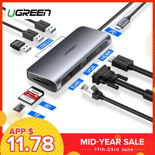 Ugreen usb 허브 c 허브 멀티 usb 3.0 hdmi 어댑터 도크 macbook pro 액세서리 USB-C 유형 c 3.1 분배기 3 포트 usb c 허브