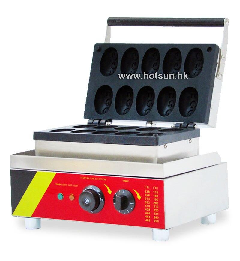 Commercial Non-stick 110V 220V Electric 10pcs Egg Shaped Waffle Maker Iron Machine