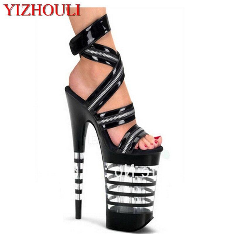20 см на очень высоком сердце с взлетно-посадочной полосы выглядит сандалии, супер Обувь на высоком каблуке полюс Танцы производительность л...