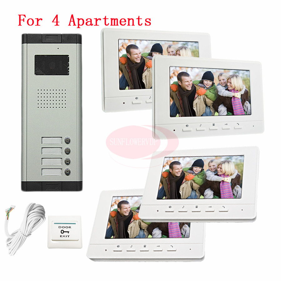 For 4 Apartments New Wired 7inch TFT Screen Video Door Phone Intercom Entry System With Infared Night Vision In Stock!