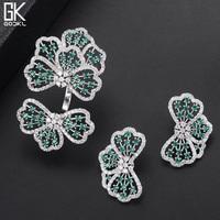 GODKI Trendy Luxury Bowknot Green Cubic Zirconia Crystal CZ Engagement Jewelry Sets For Women Wedding DUBAI Bridal Jewelry Sets