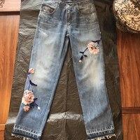 Женские джинсы Брюки Лето 2019 Высокая талия Аппликации Длинные брюки Модные женские Новое Поступление Брюки