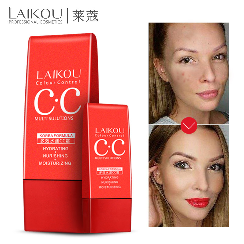 LAIKOU Multi-effect Hydrating CC Cream Makeup Facial Whitening Concealer Oil-control Freckle Removing Moisturizing Cosmetics 40G pechoin cc 40g