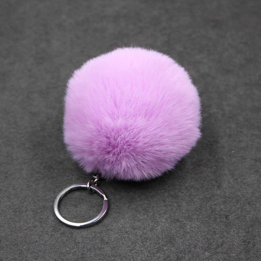 1 pedaço Faux Fur Bola 8 centímetros Pompom Keychain Car Chaveiro Chaveiro Bola De Pele De Coelho Pompons De Pele Marca Bag Charms com Cadeias Chaveiro