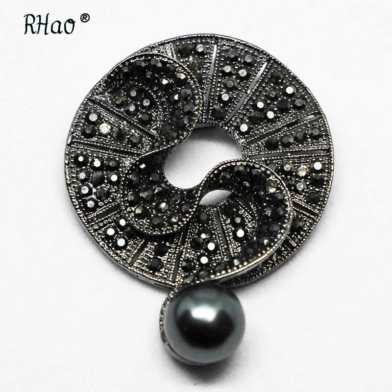 Rhinestone Black Flower Brooch Fashion Vintage Brooches and Pins Elegant Winter Coat Accessories High Quality Gift