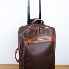 LAN PVC/Leather men's Luggage lady's distress draw-bar box handmade Suitcase