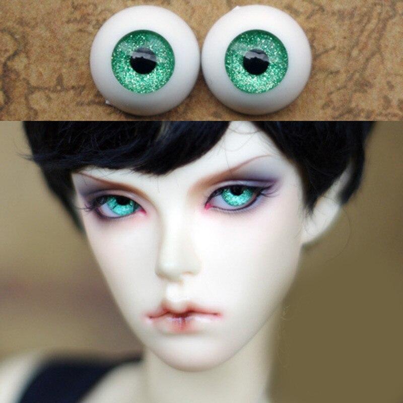 Metal Green  Doll eyes Bjd Eyes for BJD Dolls toys sd eyeball for 1/3 1/4 1/6 8mm 14mm 16mm 18mm 20mm Acrylic EYEs for dolls