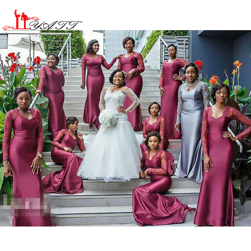 3d91912fc262 Long Sleeves Lace African Black Girls Long Bridesmaids Dresses 2016 Hot  Plus Size V Neck Maid of Honor Gowns Wedding Guests Wear