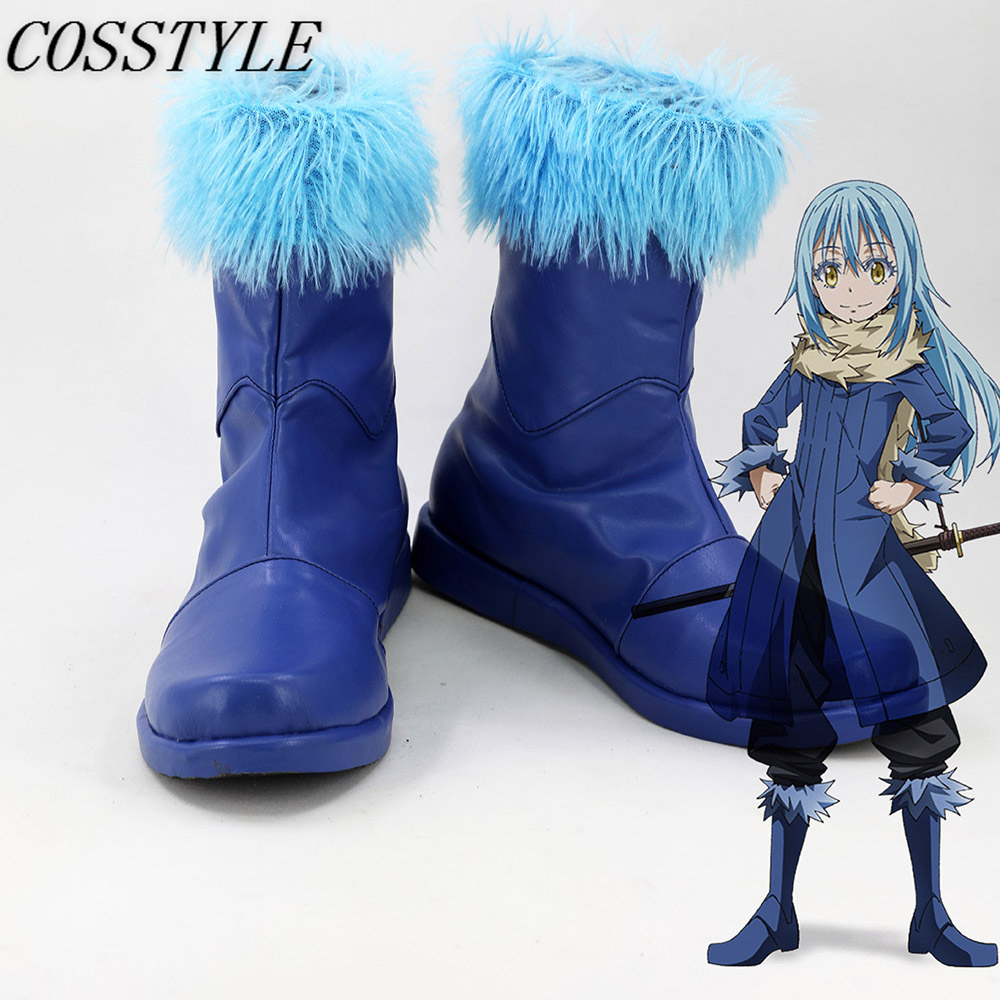 Rimuru Tempest Cosplay Shoes Anime Tensei Shitara Slime datta Ken Rimuru Boots for Women Cosplay Flat Shoes Blue Color