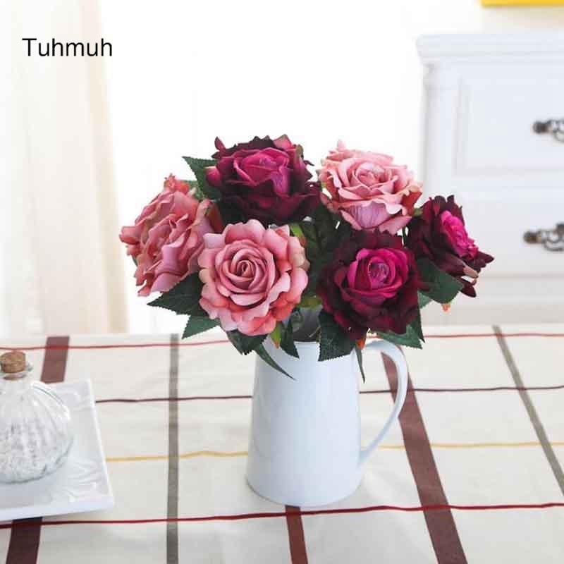 20pcs Artificial Rose Flowers Fake Silk Flower Floral Bouquet Wedding Home Decor