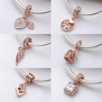 Authentic 925 Sterling Silver Bead Family Rose Gold Tree Heritage Dangle Pendant Charm Fit Original Pandora