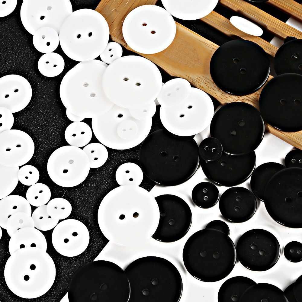 เรซินสีขาวปุ่มสีดำปุ่มพลาสติก Scrapbooking รอบสองหลุม