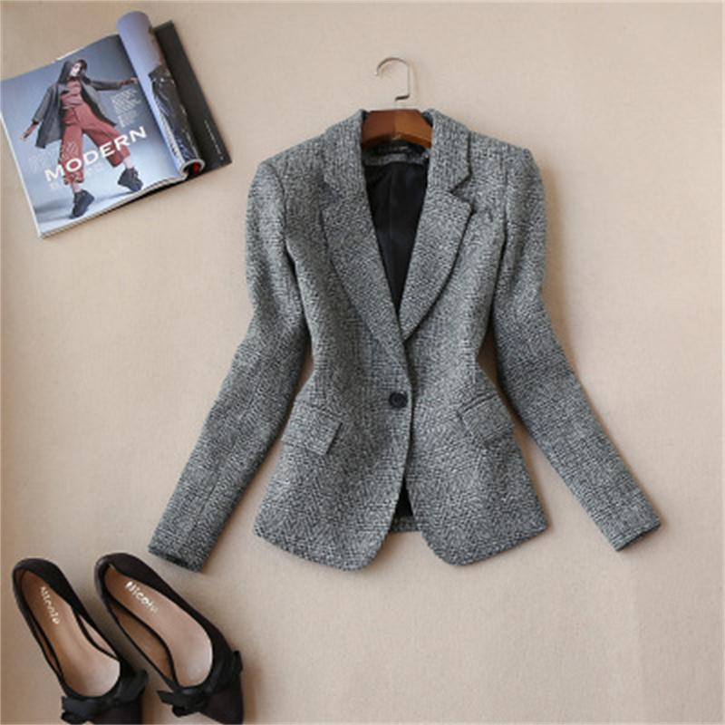 New Plus Size Women Ladies Long Sleeve Work Wear Blazer Casual Female Outerwear Plaid Blazers Jackets